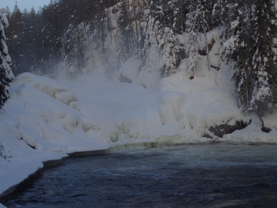 The bottom of the frozen waterfall