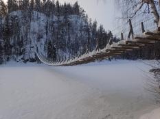 Below the bridge and frozen lake