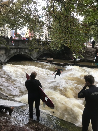 Surfing in the middle of Munich.